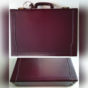 Neseser bordo PRL, skórzany, retro walizka/aktówka