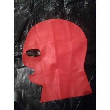 Maska bdsm Latex lateksowa czerwona M