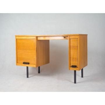 Jasne biurko z żaluzjami vintage PRL design retro