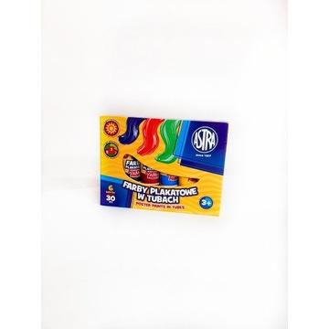 Farby plakatowe w tubach 6 kolorów ASTRA