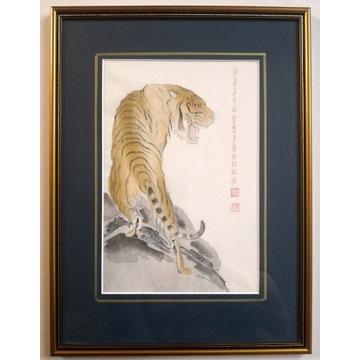 Drzeworyt chiński, 1951, Qi Bashi, Tygrys