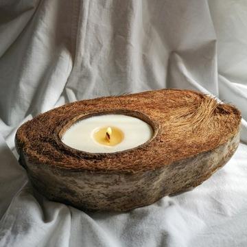 Świeca sojowa w kokosie drewniany knot EKO 100ml