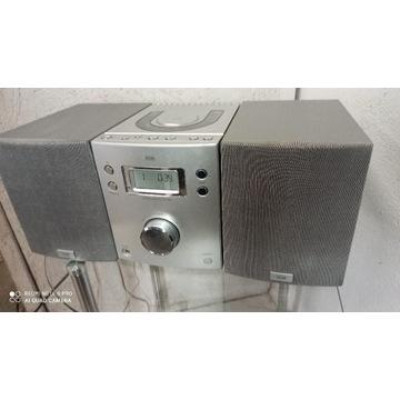 Wieża miniwieża stereo CD radio srebrna