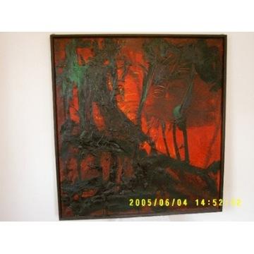 """Obraz olejny """"Ogniki"""" rok 1990 Ratajczyk Grzegorz"""