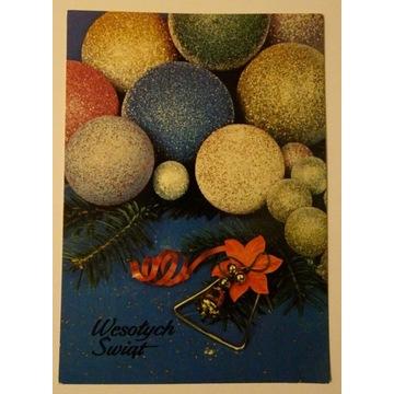 Kartka pocztówka Boże Narodzenie obieg 1990r.