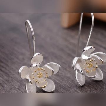 Kolczyki srebrne kwiat lotosu