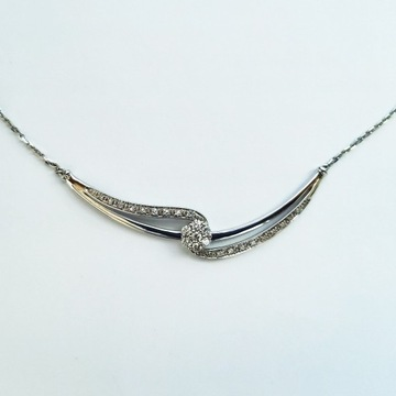 Naszyjnik białe złoto z diamentami diament kwiat