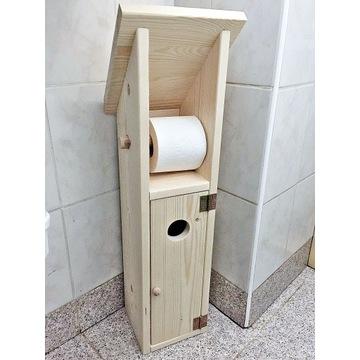 DREWNIANA budka na papier toaletowy, półka, stojak