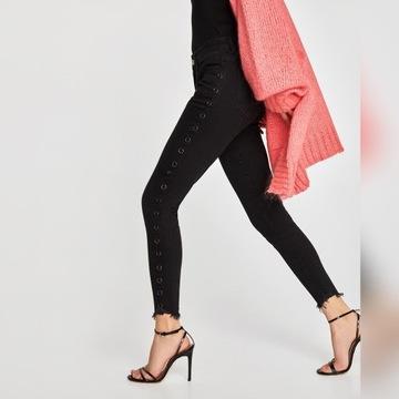 Czarne spodnie zara jeansy denim S 36