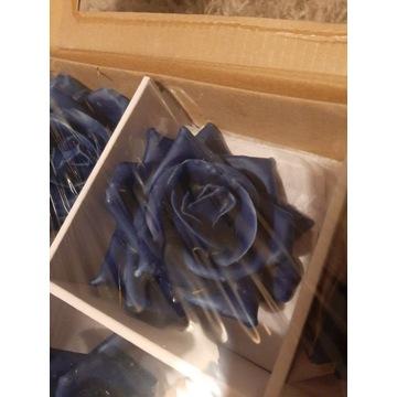 Róże woskowane granatowe lub różowe 12sztuk