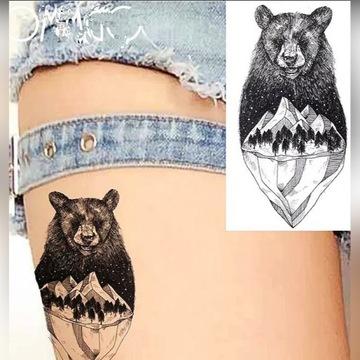 FAKE TATTOO Niedźwiedź tatuaż na wodę zmywalny