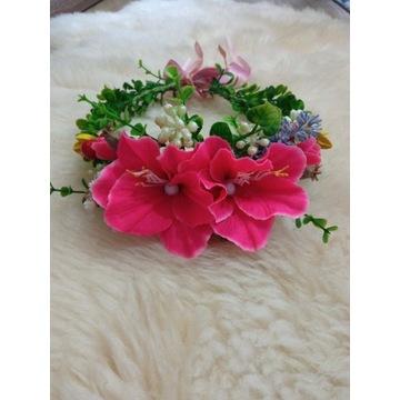 Wianek na głowę/opaska do włosów kwiaty różowe