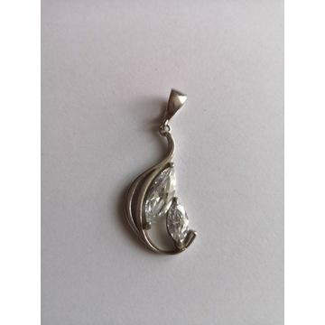 Srebrny wisiorek zawieszka pr.925 duża cyrkonia5cm