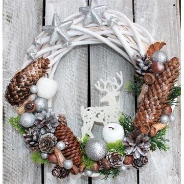 Wianek świąteczny, dekoracja drzwi,srebrny,glamour