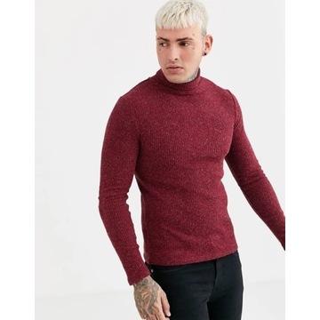 SIKSILK – Burgundowy golf sweter gym rozmiar M
