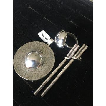 Klipsy, pierścionek, wisior  - srebro próba 925