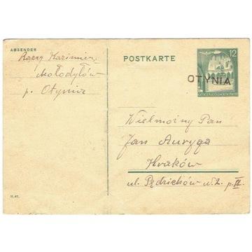 GG - Karta poczt. z pośred. Otynia distr. Galizien