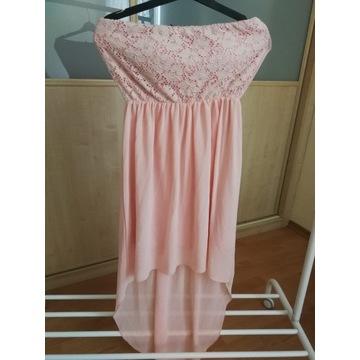 sukienka różowa z koronką L rozciągliwa