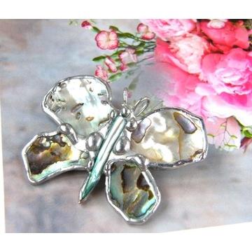 Prezent handmade: Broszka wisiorek muszla abalone