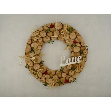 wianek na drzwi dekoracja plastry drewna