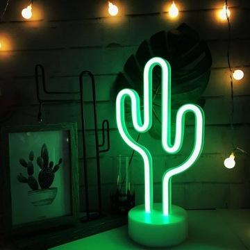 LAMPKA LED KAKTUS NEON 3D BATERIE LUB USB PREZENT