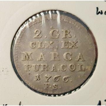 SAP 2 grosze - 1766 r. SREBRO