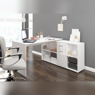 Narożne biurko z komodą Bett - wersja Prawa bialy