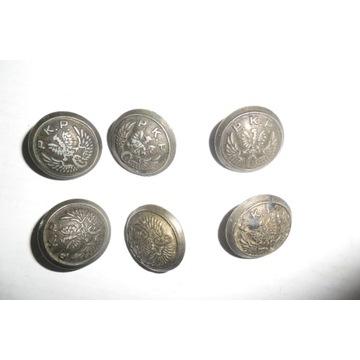 6 starych guzików metalowych PKP lata 1940/50