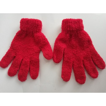 Dziecięce czerwone rękawiczki - rozmiar 5-7 lat