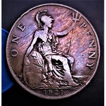 One Penny 1921  ANGLIA. Piękna TĘCZA na rewersie