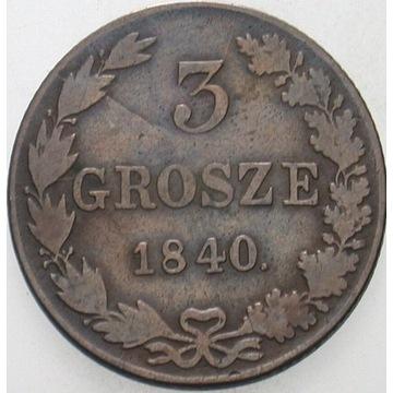 3 Grosze 1840 z kropką po dacie, rzadkie.