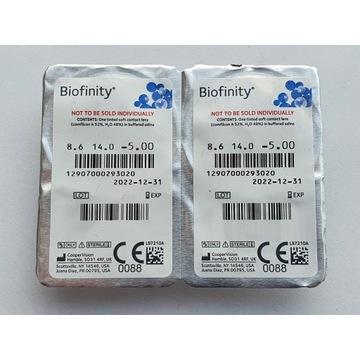 Soczewki Kontaktowe Biofinity -5,00
