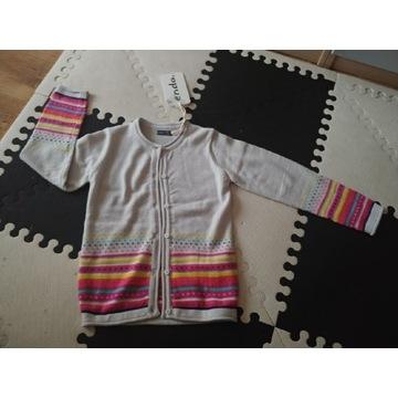 ENDO sweterek szary w kolorowe paski 122cm 6l+ now