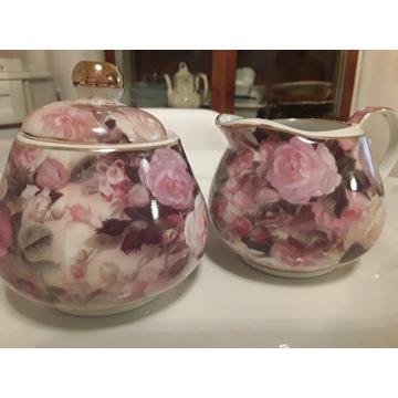 Angielska róża  zestaw cukiernica  i mlecznik nowy