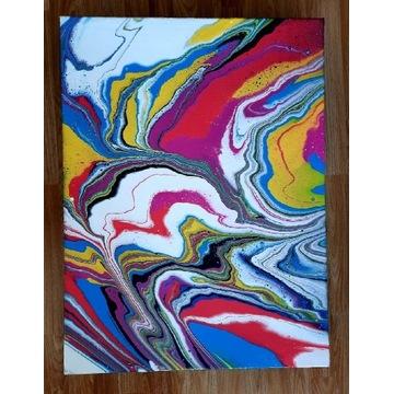"""Obraz akrylowy abstrakcja  """"tęczowy  swiat"""""""