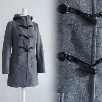 Ciepły płaszcz zimowy Guziki Kaptur Jak nowy