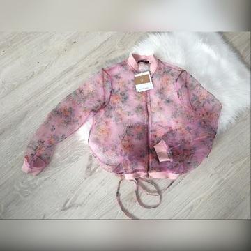 bluza przezroczysta hit stradivarius kwiaty S