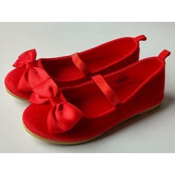 H&M balerinki czerwone r.28 zamszowe z kokardą