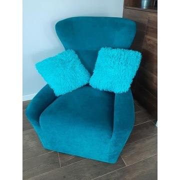 Fotel turkusowy Coco Agata Meble plus poduszki