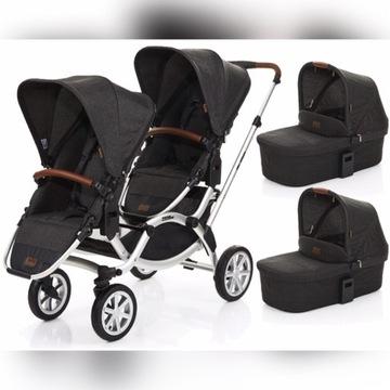 ABC wózek dla bliźniaków, bliźniąt 3w1+Maxi Cosi