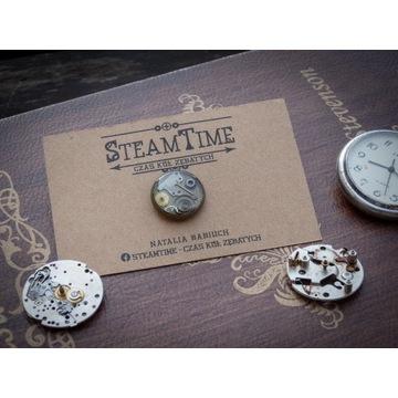 Pin, przypinka Steampunk, mechanizmy i zębatki,