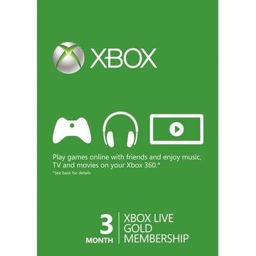 KLUCZ XBOX LIVE GOLD na 90 dni / 3 miesiące