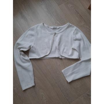H&M białe  bolerko 140/146