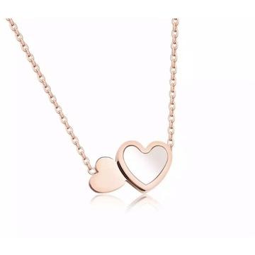 Naszyjnik serca masa perłowa stal różowe złoto