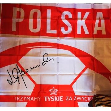 FLAGA POLSKA TYSKIE Z AUTOGRAF.ZBIGNIEWA BOŃKA