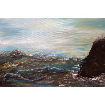 Duży Obraz ręcznie malowany Abstrakcja   90x60