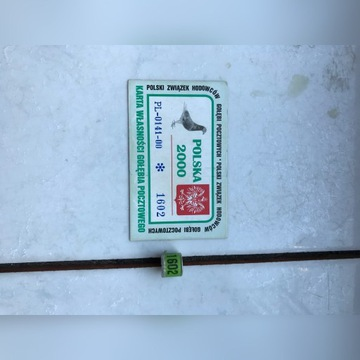 Obrączki dla gołębi -Obrączka PL 2000+karta