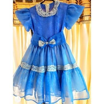 Sukienka MFL wizytowa r. 130-140 organdyna koronka