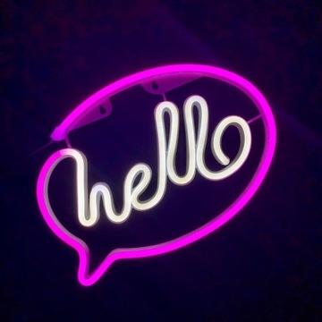 Neon LED Hello, super prezent, lampka dla dzieci