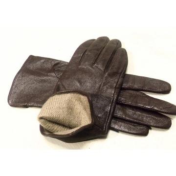 Rękawiczki skórzane ocieplane D&B brąz S/M